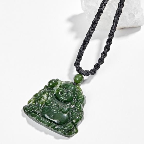 Mặt dây chuyền phong thủy phật di lặc đá ngọc bích 3.5x3.7cm - Ngọc Quý Gemstones