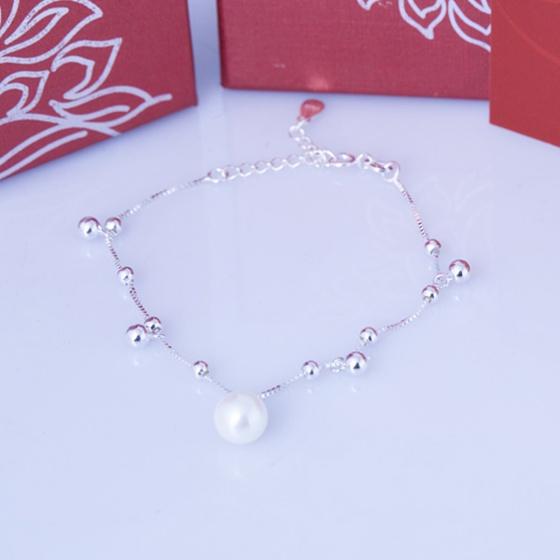 Opal lắc tay bạc đính ngọc trai trắng T05
