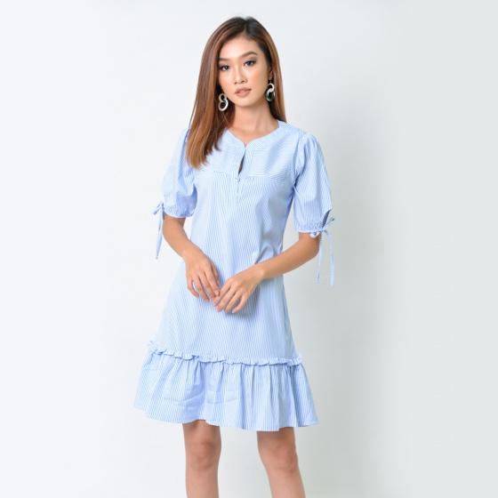 Đầm suông thời trang Eden kẻ sọc màu xanh- D354