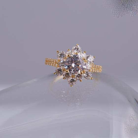 Opal Nhẫn bạc hoa tuyết phủ vàng T05
