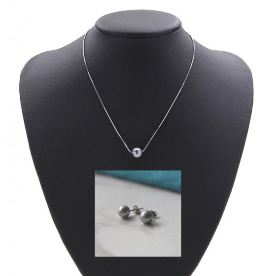 Opal_ Set dây chuyền và hoa tai bạc ngọc trai xám_T05