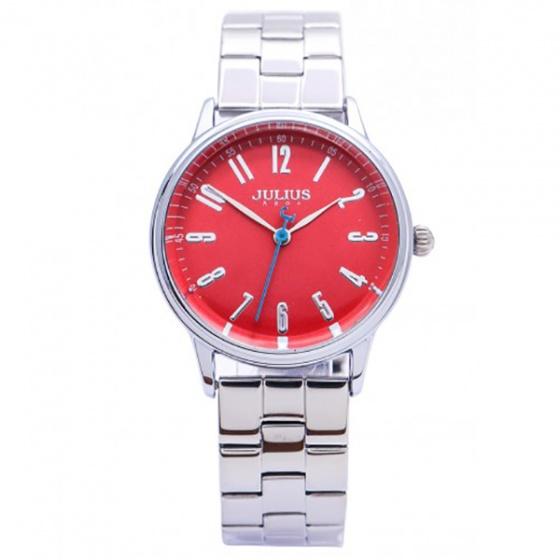 Đồng hồ nữ Julius Hàn Quốc dây thép JA-859LB JU1048 (bạc mặt đỏ)