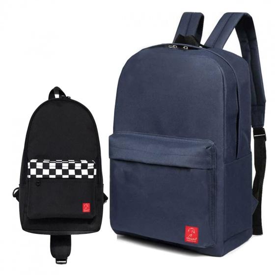 Combo balo thời trang Glado BLL002 (màu xanh) và túi đeo chéo GEX003 (màu đen)