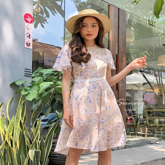 Đầm xòe phối ren - ad190055
