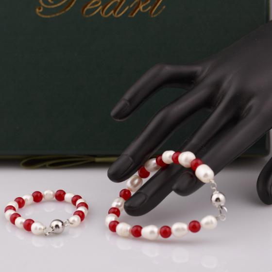 Opal Set Vòng tay ngọc trai Mẹ và Bé và đá đỏ _T6
