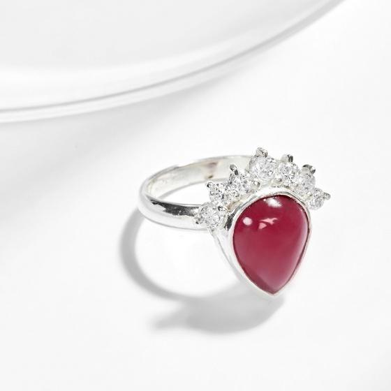 Nhẫn bạc vương miện Ruby giọt nước Ngọc Quý Gemstones