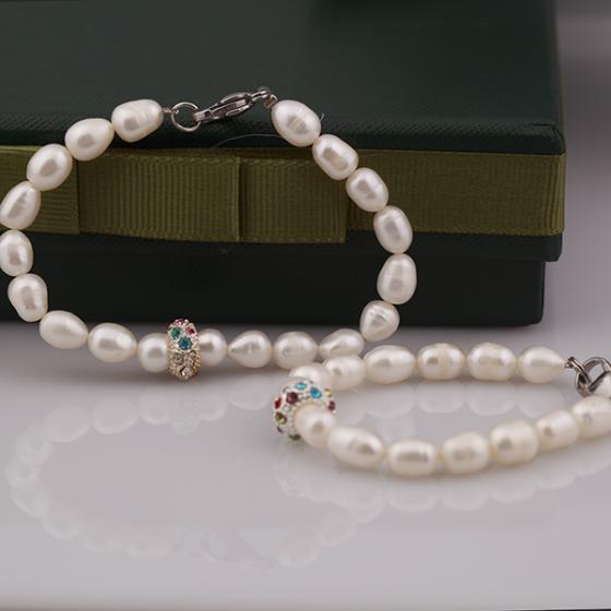 Opal set vòng tay Ngọc Trai ovan Mẹ và Bé với mặt đá nhiều màu_T6