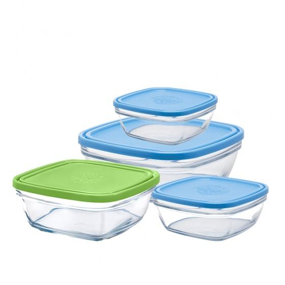 Bộ 4 hộp thực phẩm thủy tinh cường lực Pháp Duralex Freshbox 4size ( 300ml, 610ml, 1150ml, 2000ml )