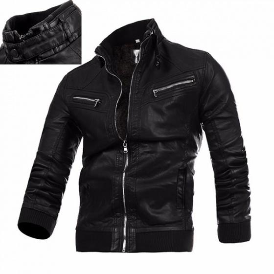 Áo khoác da nam lót lông thu đông VNXK BONADO BD91 - Đen