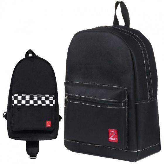Combo balo thời trang nam đẹp Glado daypack GDP003 (màu đen) và túi đeo chéo GEX003 (màu đen)