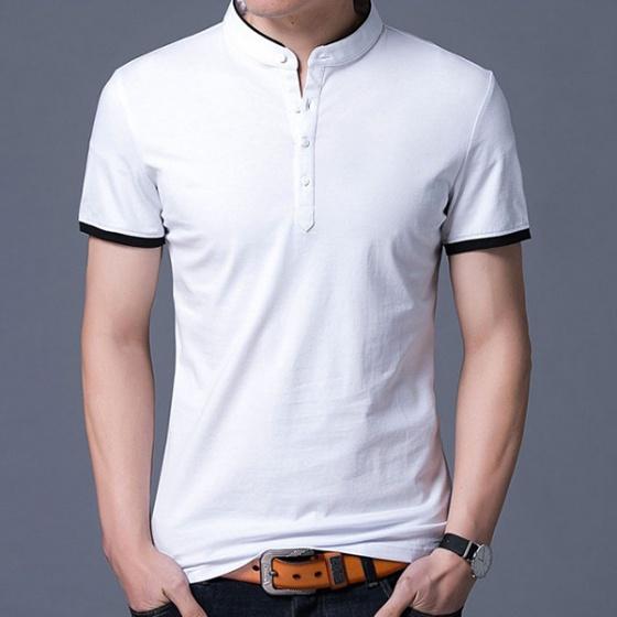 Áo thun ngắn tay cổ trụ phong cách Hàn Quốc ATN01 - Trắng