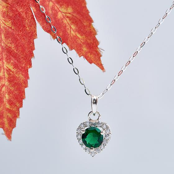 Opal - Dây chuyền bạc kèm mặt tim bạc đính đá xanh láT09