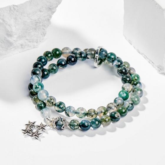 Vòng chuỗi hạt đeo tay 2 line nữ đá băng ngọc thủy tảo charm ngôi sao 6mm đường kính 5.5cm mệnh hỏa, mộc - Ngọc Quý Gemstones