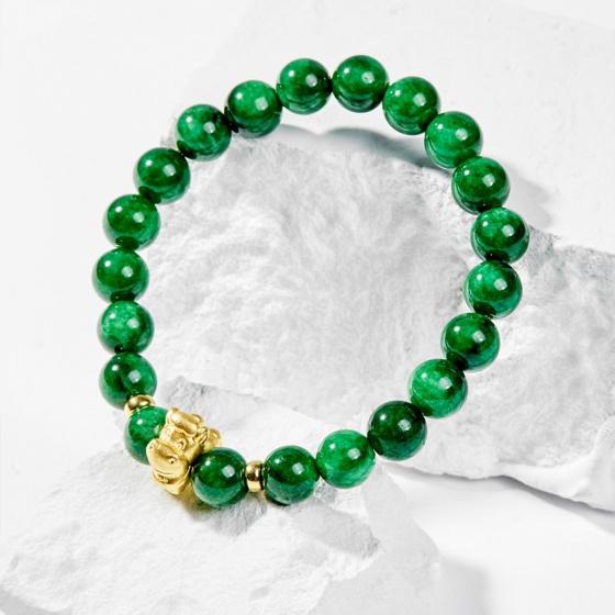 Vòng tay phong thủy đá cẩm thạch sơn thủy charm tuổi ngọ bạc mạ vàng 24k 8mm - Ngọc Quý Gemstones
