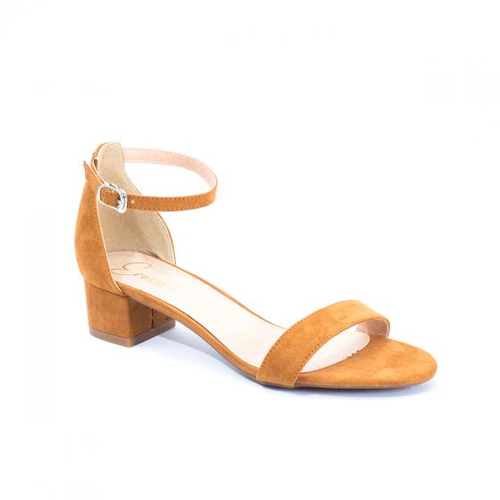Giày nữ, giày cao gót đế vuông Erosska da lộn bít gót dây mảnh EB001 (BR)
