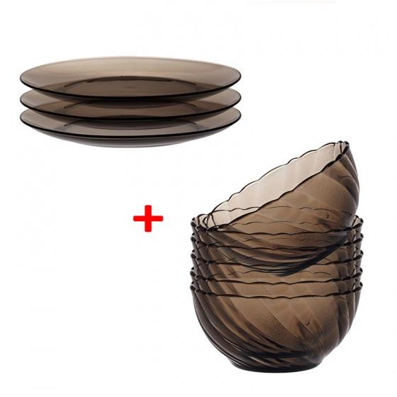 Combo bộ 6 chén cơm và 3 dĩa 19 cm thủy tinh chịu lực Duralex lys khói