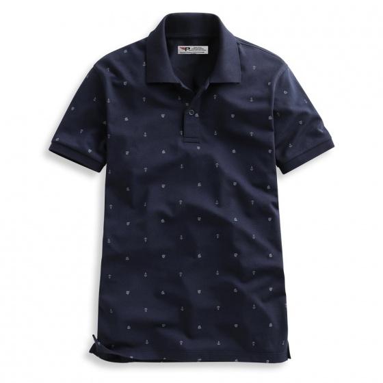 Áo thun nam hoạ tiết mỏ neo phù hợp mọi phong cách Pigofashion  AHT04 màu xanh đen