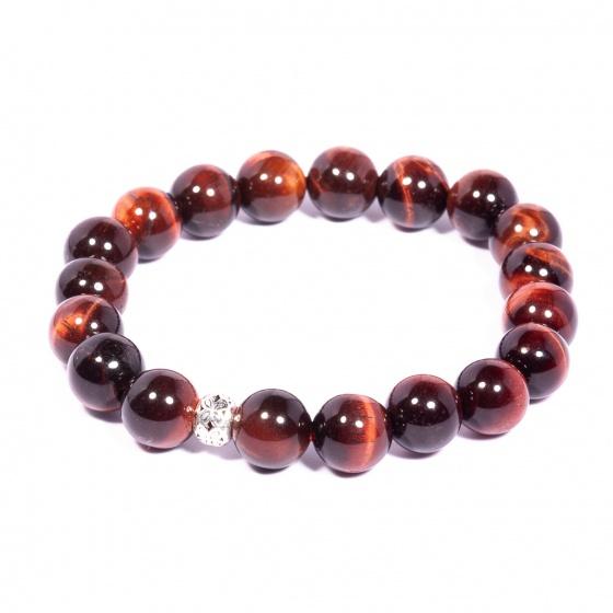 Vòng tay đá Mắt hổ đỏ tự nhiên phối charm bạc Thái cao cấp BRTIGS02 - Vietgemstones