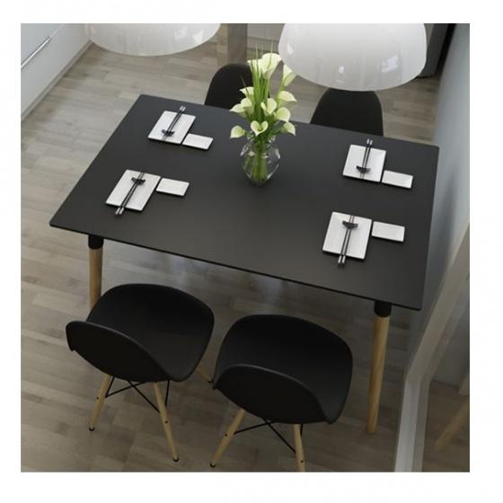Bộ bàn ghế ăn tối giản kiểu Bắc Âu - đen
