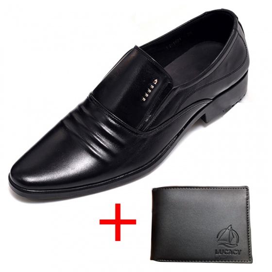 Combo giày lười công sở nam da bò cao cấp N1621MD + 1 ví da Lucacy