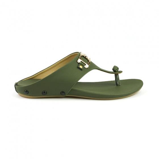 Dép da xỏ ngón êm chân Sunday DD44 màu xanh rêu