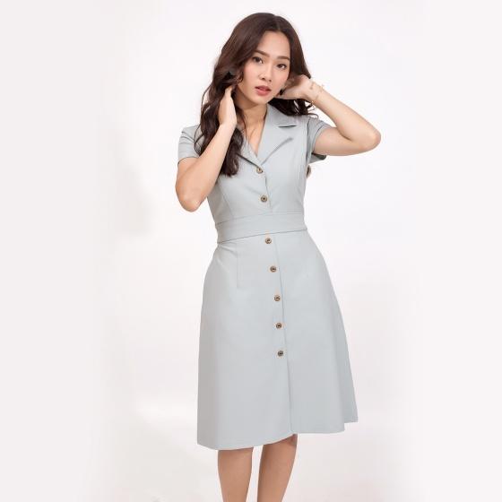 Đầm công sở thời trang Eden màu xám - D370