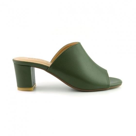 Guốc da thời trang êm chân Sunday GG04 màu xanh rêu
