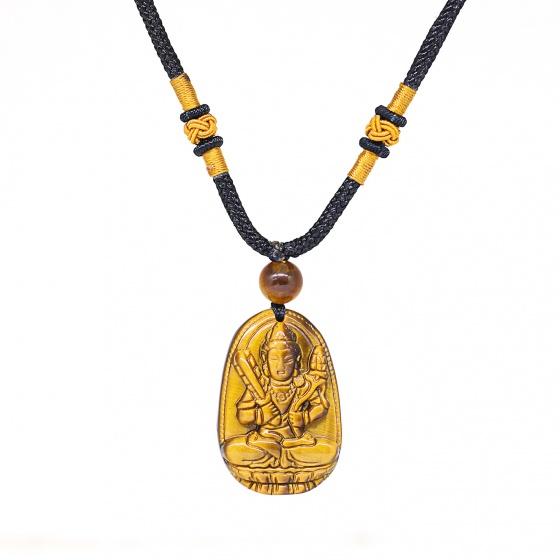 Mặt dây chuyền Phật Bản Mệnh Hư Không Tạng Bồ Tát đá mắt hổ tuổi sửu,dần - Ngọc Quý Gemstones