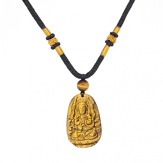 Mặt dây chuyền Phật Bản Mệnh Thiên Thủ Thiên Nhãn Bồ Tát đá mắt hổ tuổi Tý - Ngọc Quý Gemstones
