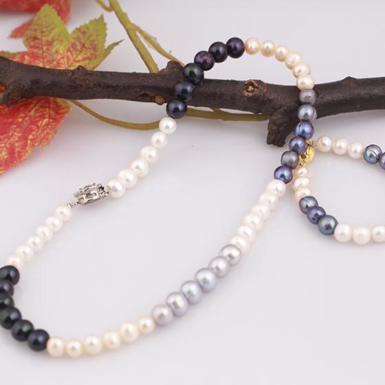 Opal -  bộ vòng cổ và vòng tay ngọc trai mix màu sang trọng _T07