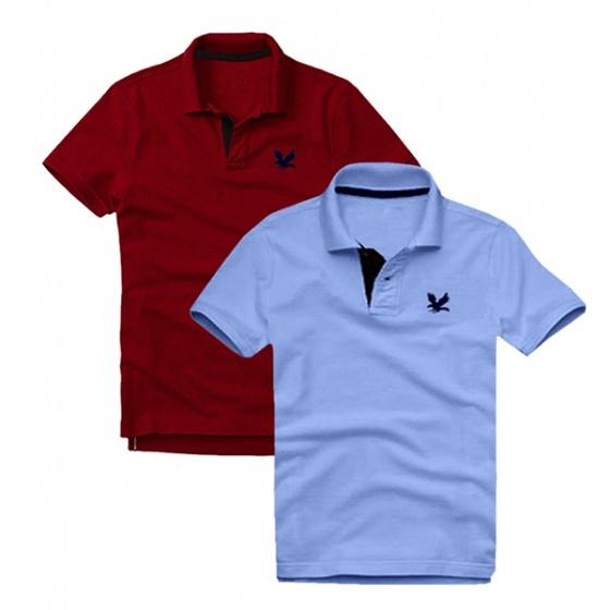 Áo thun nam cổ bẻ vải cá sấu cao cấp, combo 2 áo logo thêu rất sắc xảo (đỏ đô, xanh môn)