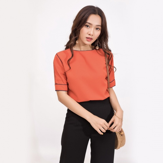 Áo công sở thời trang Eden phom rộng viền đen màu cam - ASM042