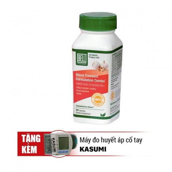 Bộ 01 hộp viên uống kiểm soát tăng huyết áp và điều hoà cholesterol - Blood Pressure 60 viên/hộp + Tặng 1 máy đo huyết áp cổ tay Kasumi