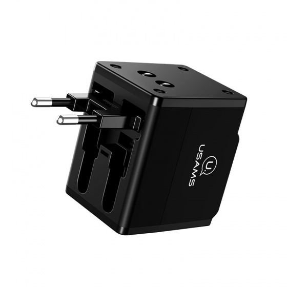 Bộ sạc du lịch toàn cầu USAMS US-CC044 T2 Dual USB Universal Travel Charger (4 in 1 Adapter,US,AU,EU,UK)