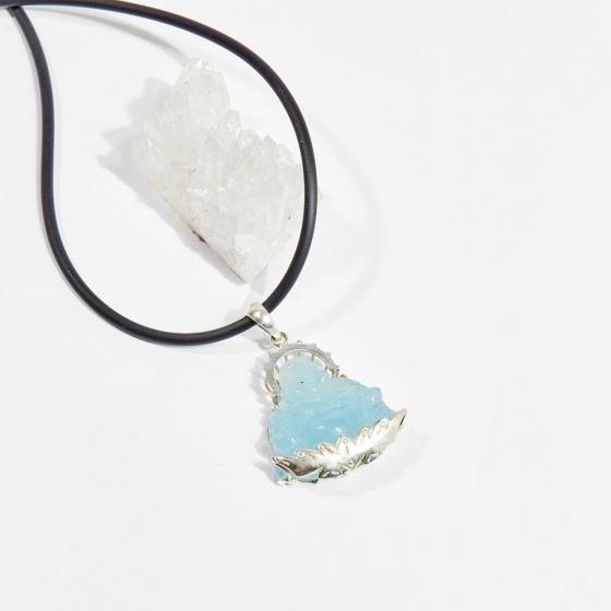 Dây chuyền phong thủy đá aquamarine phật di lặc 3cm mệnh thủy, mộc - Ngọc Quý Gemstones