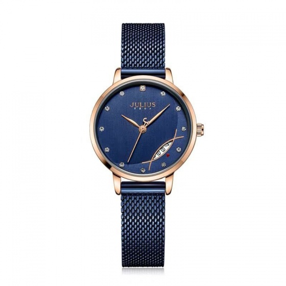 Đồng hồ nữ JA-1179 Julius Hàn Quốc dây thép có ngày