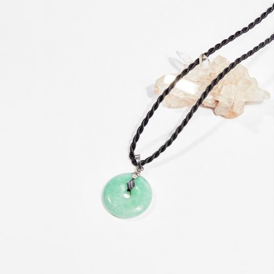 Dây chuyền phong thủy đá cẩm thạch phỉ thúy đồng điều 2.7cm mệnh hỏa, mộc - Ngọc Quý Gemstones