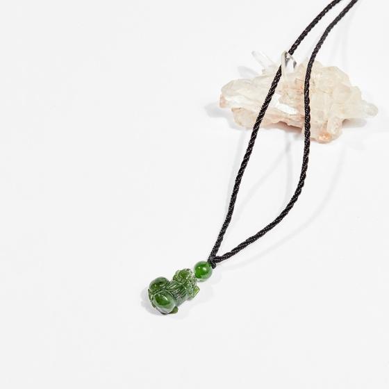 Dây chuyền phong thủy đá ngọc bích tỳ hưu 2cm mệnh hỏa, mộc - Ngọc Quý Gemstones