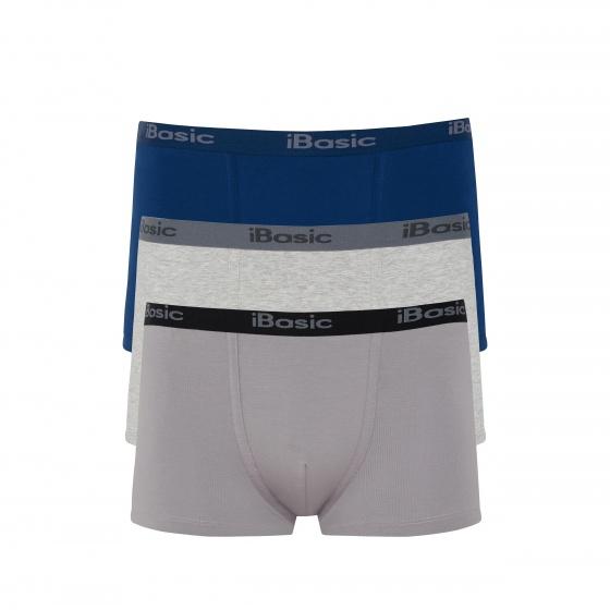 Combo 3 quần lót nam Trunk iBasic PANM078 (xanh, xám, xám melange)