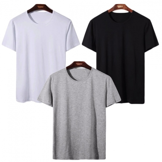 Áo thun nam cổ tròn đa dạng phong cách, combo 3 áo xám, đen, trắng