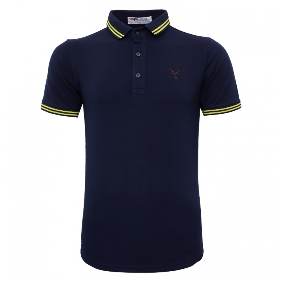 Áo thun nam cổ bẻ logo ép 3D chuẩn phong độ Pigofashion AHT16 xanh đen