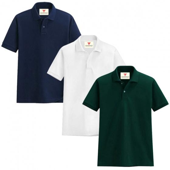 Áo thun nam cổ bẻ vải cá sấu cao cấp dokafashion, combo 3 áo (xanh rêu, trắng, xanh đen)