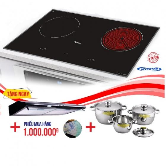 Bếp từ đôi hồng ngoại cảm ứng CANZY CZ-200GS tặng hút mùi , bộ nồi cao cấp nhà bếp Fivestar