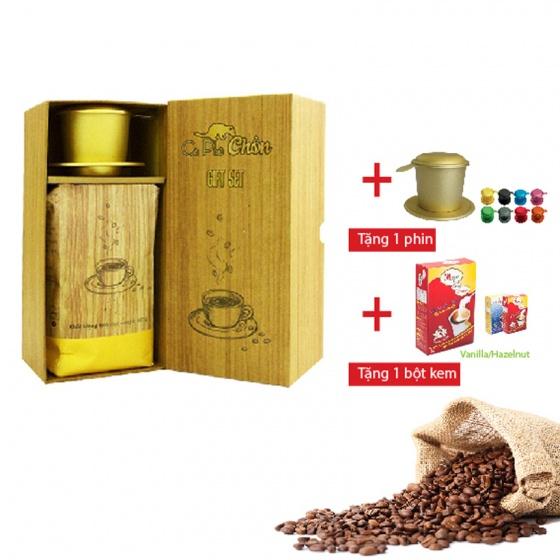 Combo: hộp quà cà phê chồn 500g + bột kem pha cà phê + phin cà phê cao cấp
