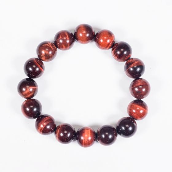 Vòng tay phong thủy đá mắt hổ nâu đỏ 12mm mệnh hỏa, thổ - Ngọc Quý Gemstones