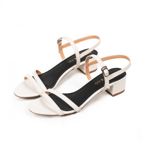 Giày nữ, giày cao gót đế vuông Erosaska cao 3cm thời trang thiết kế phối màu sang trọng EB006 (WH)
