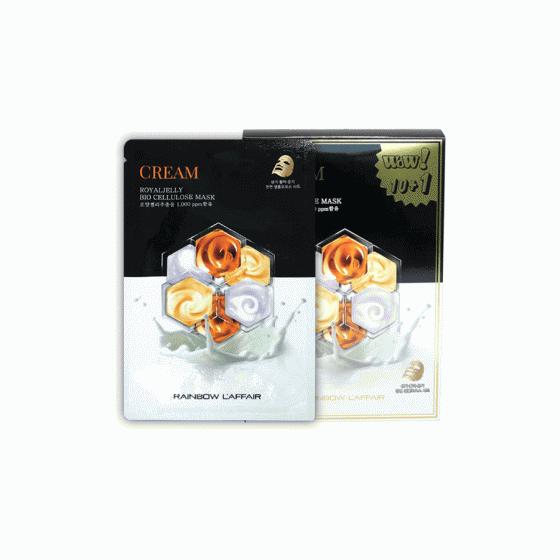 Mặt nạ chống lão hóa, trắng da, ngừa mụn Rainbow l'affair Cream Royaljelly Bio Cellulose Mask (11 miếng x 30ml)