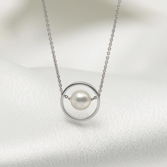 Dây bạc quý kim 1 viên ngọc Freshwater trắng 7-8mm N1736