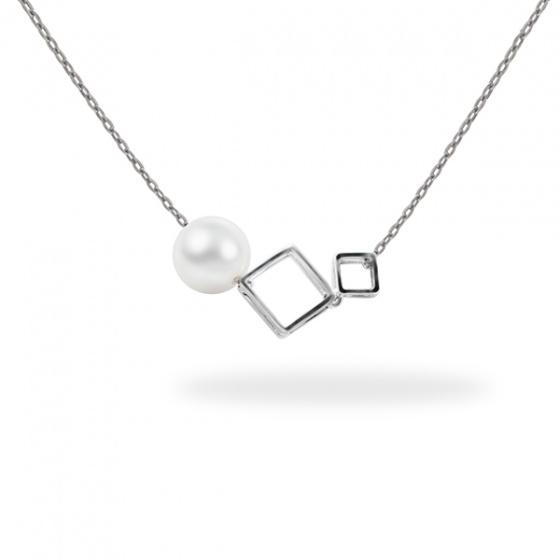Dây bạc quý kim 1 viên ngọc F trắng 6-7mm N1895