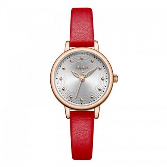 Đồng hồ nữ Julius Hàn Quốc  JA-1091B dây da (đỏ)